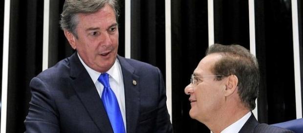 Senadores Fernando Collor (PTB-AL) e Renan Calheiros (PMDB-AL)