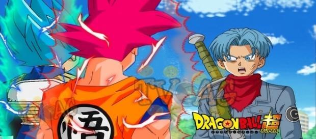 Trunks sorprendido por las transformaciones de Goku y Vegeta
