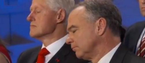 Donald Trump's new campaign ad shows Bill sleeping during Hillary Clinton's big DNC speech! Photo: Youtube screen shot ABC News