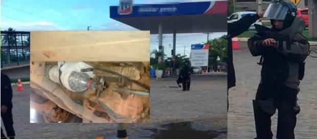 Bomba é encontrada em posto de gasolina