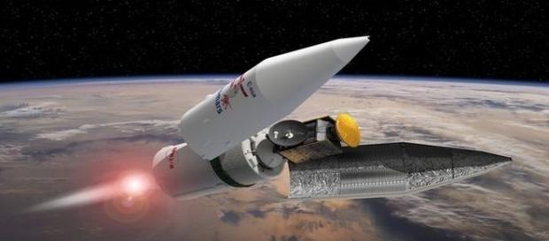 Ilustração mostra o foguete que leva a sonda (ESA-David Ducros)