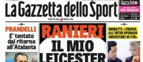 Capa do diário italiano Gazzetta dello Sport