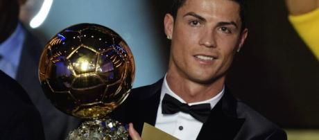Cristiano Ronaldo quando venceu a Bola de Ouro da FIFA