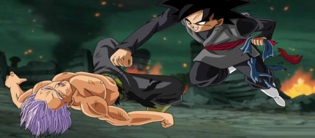 Black peleando con Trunks del futuro