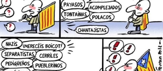Chiste de cómo un catalanista moderado contesta sutilmente a quienes le insultan sin haber hecho nada malo.