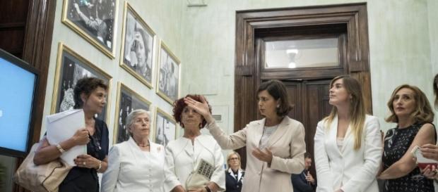 Laura Boldrini durante la presentazione della nuova sala di Montecitorio.