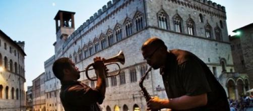 Umbria Jazz Perugia 2016. Musicisti in piazza IV Novembre