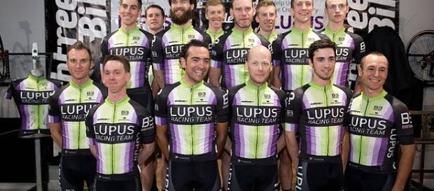 Chris Horner, front row, fourth from the left, with his Lupus Racing Team squad.