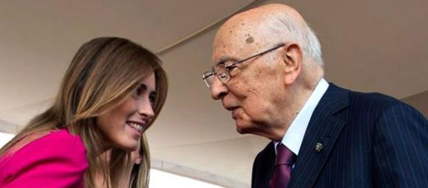 Il ministro Maria Elena Boschi con il presidente Giorgio Napolitano