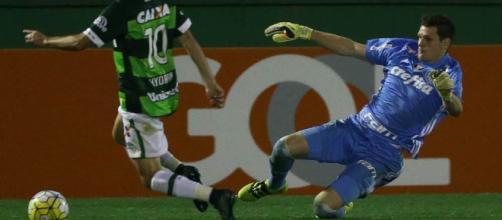 Em ação contra o Palmeiras, Hyoran, meia da Chapecoense, pode reforçar o Flu em 2017 (Foto: Arquivo)