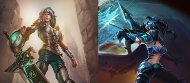 Vayne y Riven. Campeonas de League of Legends