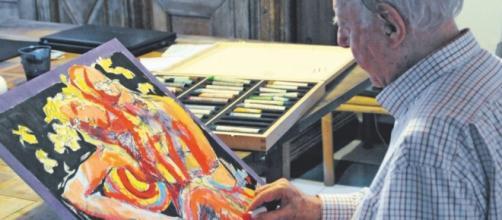 Dario Fo ritrae la Boschi: dipinto all'asta per sostenere M5S