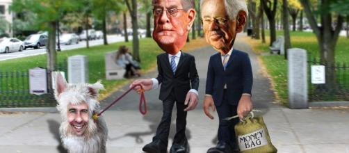Flickr depiction of Koch Brothers with their lap dog Scott Walker