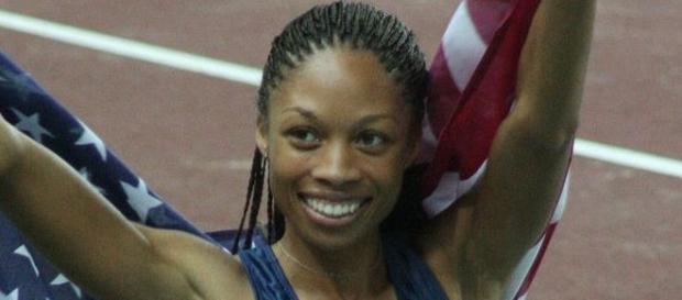 Allyson Felix celebrating her win in Osaka. Courtesy: Wikimedia Commons