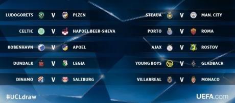 Os jogos de ida da fase de playoffs da Liga dos Campeões temporada 2016/2017 acontecem nos dias 16 e 17 de agosto.
