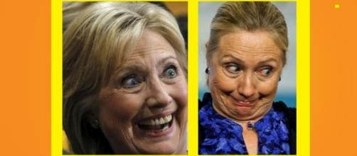 What's up with the facial expression's on Hillary's face these days? Photos: YouTube screen shots (L) Redsilver (R) Conservative DP