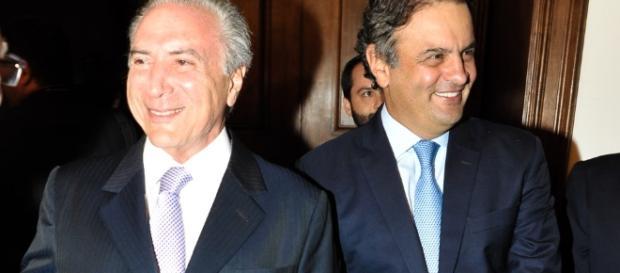 Michel Temer e Áecio Neves aliados