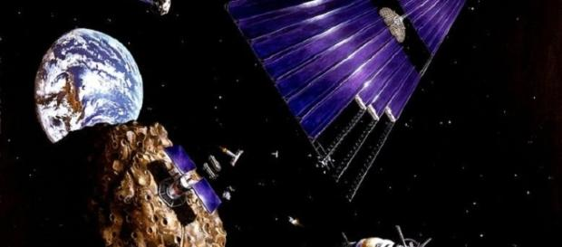 Solar power sattelite being built from asteroid materials