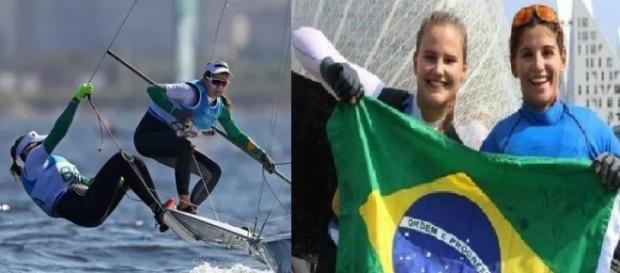 Velejadoras comemoram medalha de ouro (Divulgação/internet)