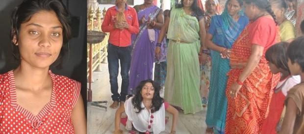 Aarti Dubey, 19 anos, tira a própria língua e oferece para deusa que lhe prometeu realizar todos os seus desejos