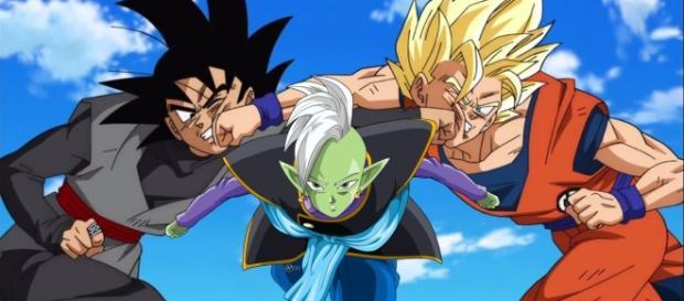 Goku peleando contra Black y Zamasu