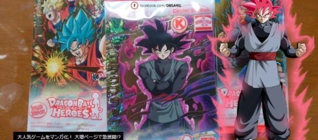 Imagen de la carta, el anuncio del manga y un fan art de Black transformado