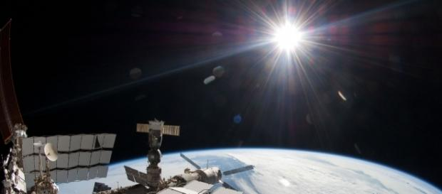 Sun and Earth as seen from ISS. NASA, Wikipedia Commons