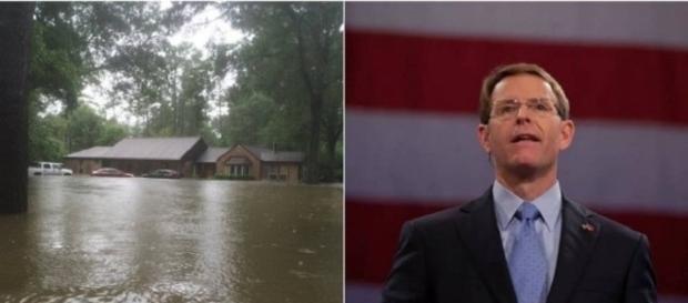 O pastor Tony Perkins e sua casa alagada