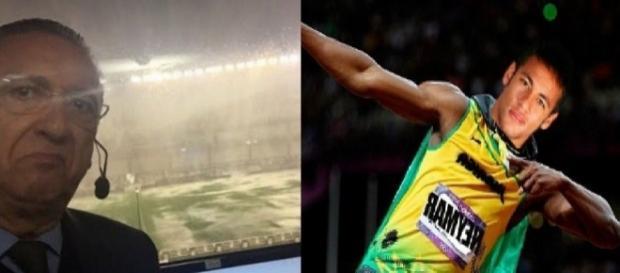 Galvão Bueno e Neymar - Foto/Montagem