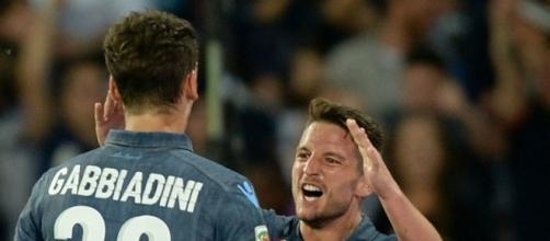 Manolo Gabbiadini ai titoli di coda con il Napoli.