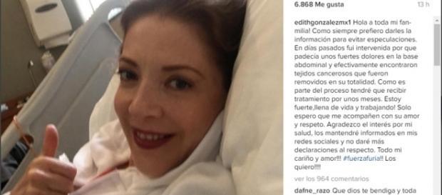 Confiesa Edith González que tiene cáncer