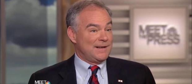 Democratic VP candidate Tim Kaine attacked Donald Trump using campaign contributions for himself. Credit: NBC's Meet the Press screenshot.