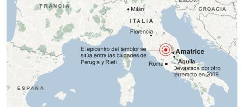 Lugar donde se ha producido el epicentro del sismo