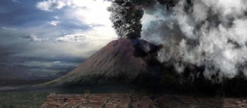 Pintura que reproduce cómo fue la erupción del volcán Vesubio durante las horas que acabó con Pompeya y Herculano.