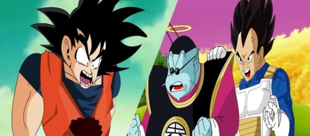 Goku al borde de la muerte y Vegeta trata de animarlo.