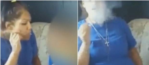 Mulher aparece em vídeo fumando maconha com criança do lado
