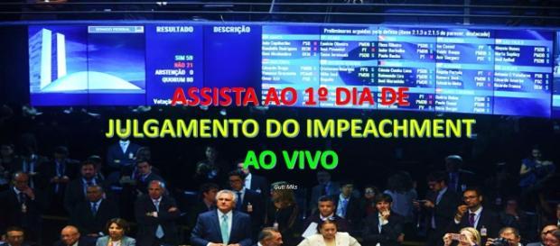 1º dia do julgamento do impeachment é transmitido ao vivo (Foto: Reprodução)