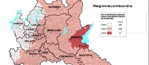 Mappa sismica della Regione Lombardia