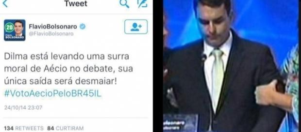 Flávio Bolsonaro tem mal estar em debate