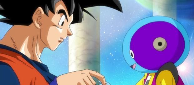 imagen de zeno sama y goku en el planeta sagrado