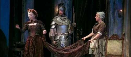 Marion Adler, Jon Barker and Kristie Dale Sanders in 'Exit the King.' Photo: Jerry Dalia, The Shakespeare Theatre of New Jersey, used with permission.