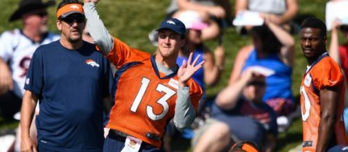 Trevor Siemian (#13) is looking like a favorite to be named Denver's starting quarterback for the 2016 NFL season. Photo c/o Denver Post.