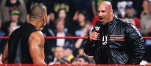 Bill Goldberg confronts The Rock during his WWE debut in 2003. Photo c/o Inquisitr.com.