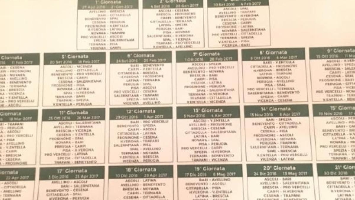 Calendario Serie A 19 20 Seconda Giornata.Serie B 2016 2017 Il Calendario Completo