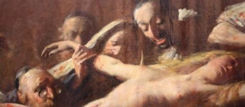 Cuadro de ritual judio desangrando mujer goyim.