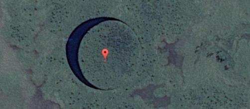 Immagine di Google Earth che mostra la presunta base argentina.