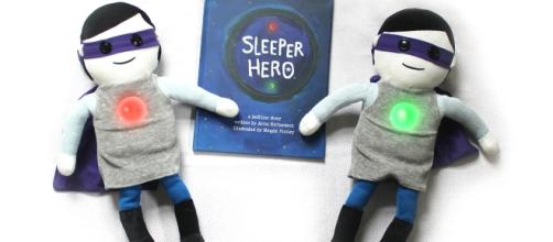 """SleeperHero"" is a book and toy set that was designed to help kids sleep. / Photo via Annie and Meggie Richardson, Purple Pancakes LLC."