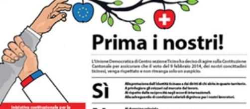 """Propaganda Udc svizzero """"Prima i nostri!"""""""