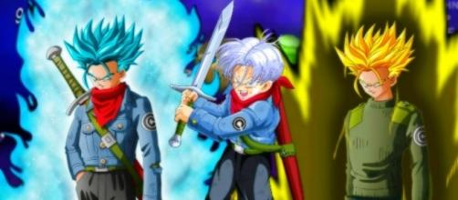 Trunks del Futuro transformado en Super Sayajin Blue
