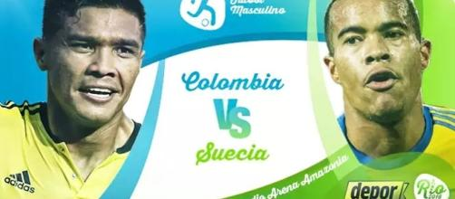 Poster oficial del partido Colombia vs Suecia